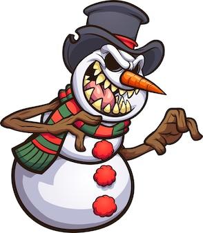 Boneco de neve maléfico assustador dos desenhos animados usando uma cartola.