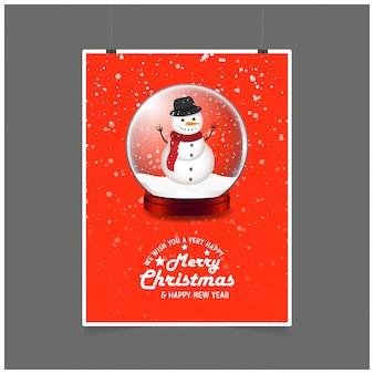 Boneco de neve no baile de natal. desejamos-lhe muito feliz feliz natal