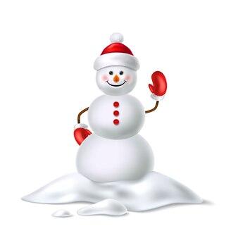 Boneco de neve realista bonito no chapéu de cachecol de luvas