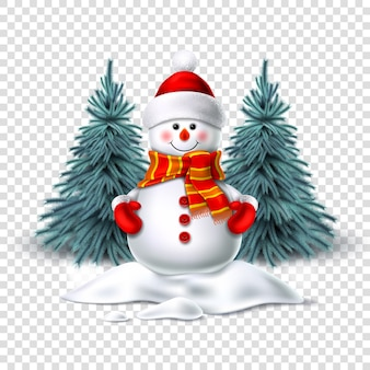Boneco de neve realista sorrindo em pé na neve perto de árvores spruce. personagem de natal