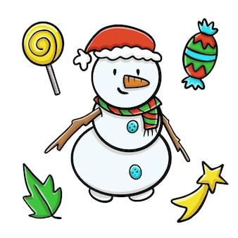 Boneco de neve sorridente com chapéu de papai noel