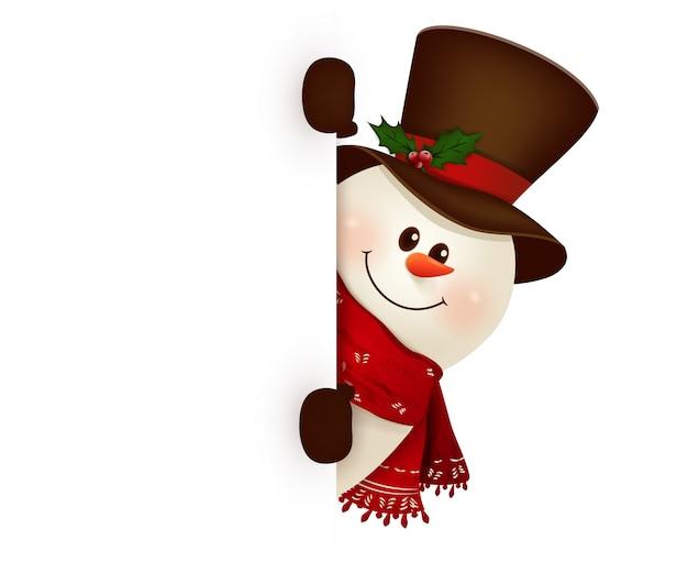 Boneco de neve sorridente feliz em pé atrás de um cartaz em branco mostrando um grande cartaz em branco. ilustração.