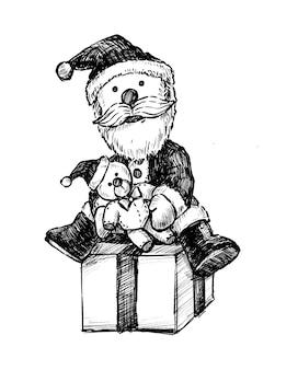 Boneco de papai noel desenhado à mão