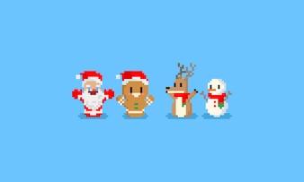 Bonecos de balanço de Natal de pixel.