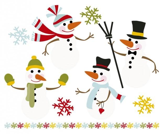Bonecos de neve felizes