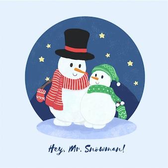 Bonecos de neve na noite estrelada