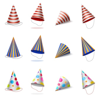 Bonés coloridos de aniversário com listras e bolinhas