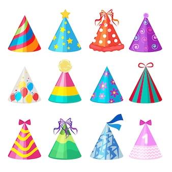 Bonés de aniversário. coleção de bonés coloridos de elemento de decoração de festa de desenho animado