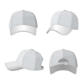 Bonés de beisebol em vista frontal e traseira isolados no branco