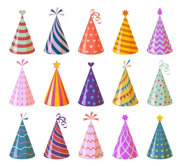 Bonés de festa. aniversário de desenho animado colorido e chapéus de papel de carnaval, elementos de decoração de feriado de natal e aniversário crianças engraçado festival conjunto de cones