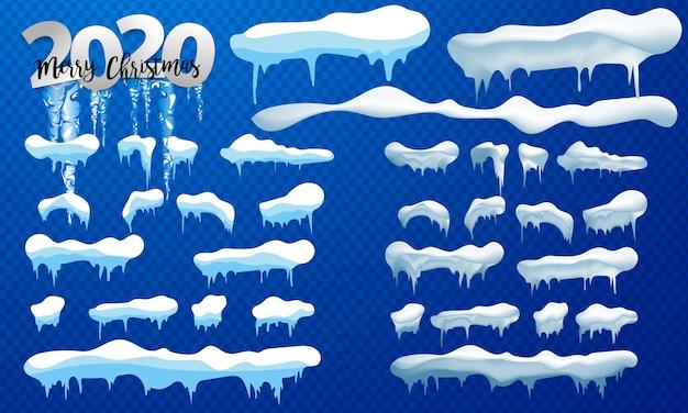 Bonés de neve, bolas de neve e montes de neve. coleção de vetores de boné de neve. decoração de inverno