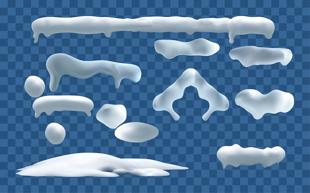 Bonés de neve. bolas de neve e neve deriva elementos de decoração de inverno nevado. conjunto isolado de desenhos animados de natal