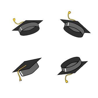 Bonés de pós-graduação e confetes. caps jogados para cima.