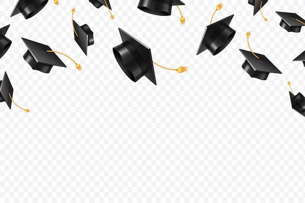 Bonés de pós-graduação voando