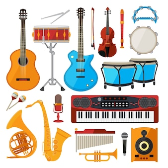 Bongô, bateria, guitarra e outros instrumentos musicais. piano e saxofone, guitarra e trompete