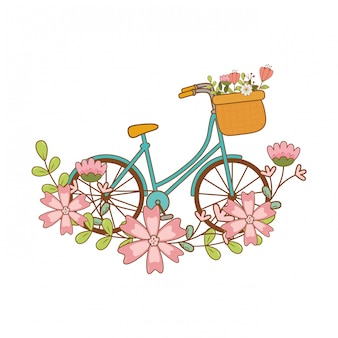Bonita bicicleta com cesta e decoração floral