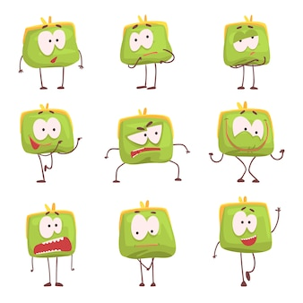 Bonita bolsa humanizada verde com caretas conjunto de caracteres coloridos ilustrações