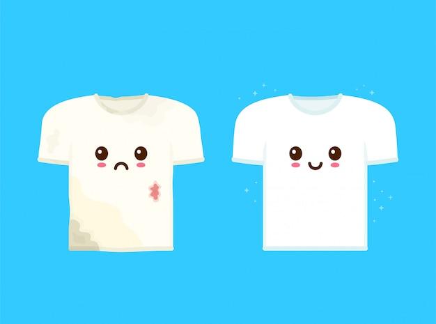 Bonita camiseta suja triste com manchas e feliz sorridente camiseta limpa