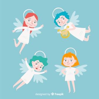 Bonita coleção de anjos de natal plana