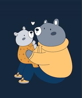 Bonita família de ursos pai e filho. melhor pai de todos