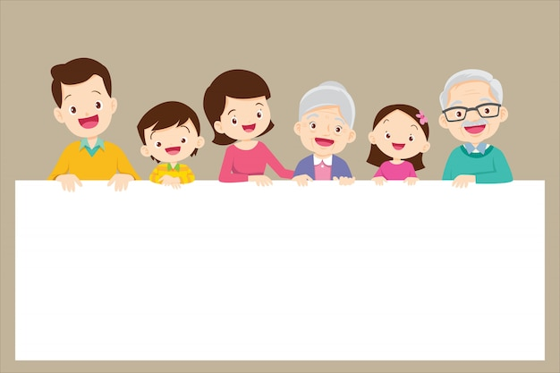 Bonita família grande segurando banners vazios