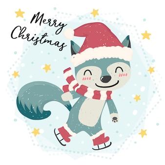 Bonita feliz raposa selvagem azul patinando na neve, feliz natal, vetor plana