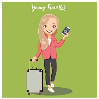 Bonita jovem turista com mala pronta para viajar