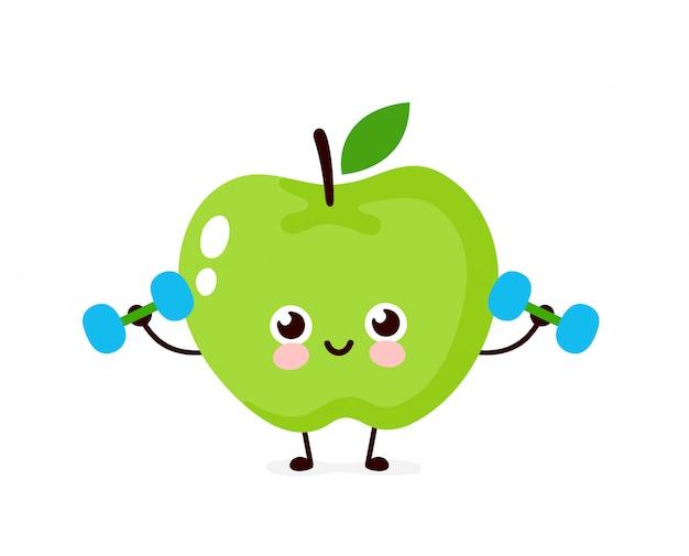 Bonita maçã sorridente feliz fazendo exercícios com halteres. ilustração de personagem de desenho animado estilo moderno simples. isolado no fundo branco. conceito de trem de maçã