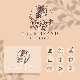 Bonita mulher elegante linha arte logotipo modelo editável