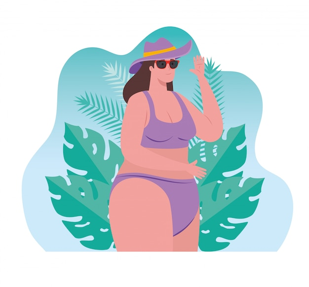 Bonita mulher gorda em traje de banho usando óculos de sol, com cena de folhas tropicais