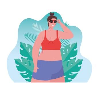 Bonita mulher gorda em traje de banho usando óculos de sol, com design de ilustração vetorial cena tropical folhas