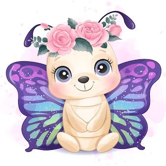 Bonita pequena borboleta com ilustração em aquarela