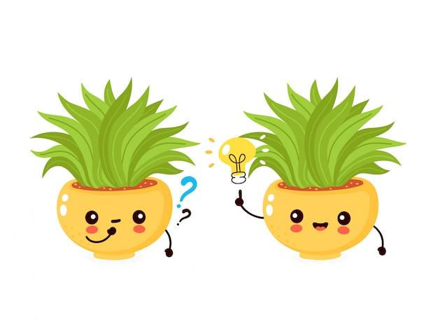 Bonita planta sorridente feliz em panela com lâmpada e ponto de interrogação. ilustração plana dos desenhos animados. isolado no fundo branco planta em vaso, conceito de planta de casa