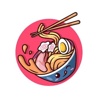 Bonita taça de macarrão ramen no círculo vermelho Vetor Premium