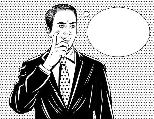 Bonitão, de pé no terno do escritório com o dedo perto de seu rosto e discurso bolha