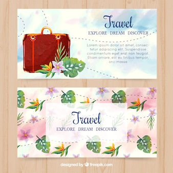 Bonitas banners de bagagem e flores de aguarela