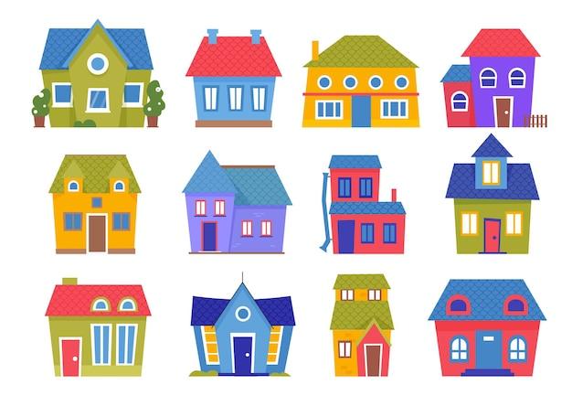 Bonitas casas pequenas na cidade ou vila com desenhos animados de várias coleções de casas coloridas