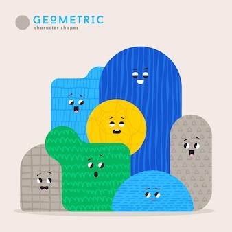 Bonitas figuras geométricas de desenho animado com diferentes emoções de rosto, ideia de pôster engraçado para crianças