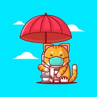 Bonitas ilustrações vetoriais de desenho animado gato segurando guarda-chuva de injeção