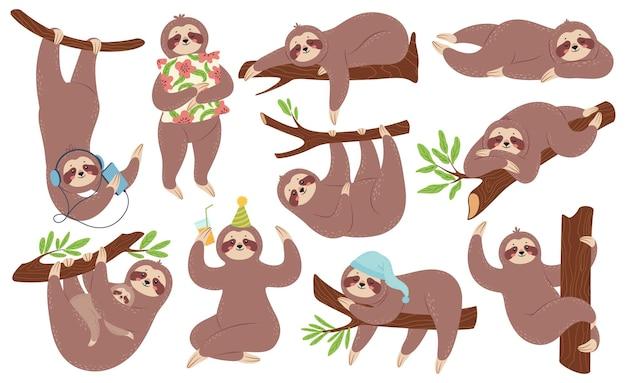 Bonitas preguiças preguiçosas felizes dormindo penduradas no galho ouvindo música conjunto de desenhos animados