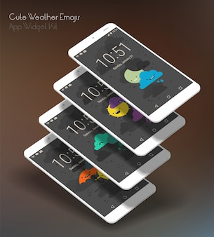 Bonitas telas de aplicativos meteorológicos em smartphones 3d