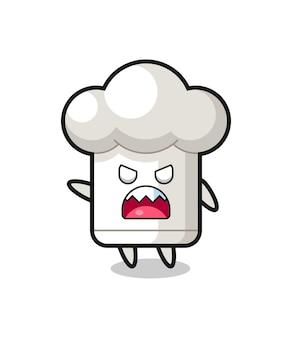 Bonitinho desenho de chapéu de chef em uma pose de muita raiva, design de estilo fofo para camiseta, adesivo, elemento de logotipo