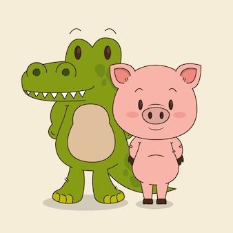 Bonitinho e pequeno crocodilo e personagens de porco