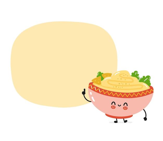 Bonitinho engraçado hummus tradicional tigela. desenho plano kawaii