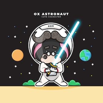 Bonitinho personagem de desenho animado do boi astronauta está segurando o sabre de luz