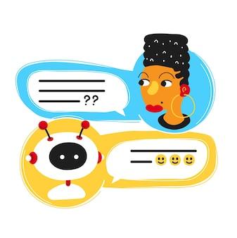 Bonitinho sorridente bot de bate-papo ai escrito com mulher pessoa, tela do aplicativo messenger. projeto do ícone da ilustração do personagem de desenho animado plana. isolado no fundo branco.
