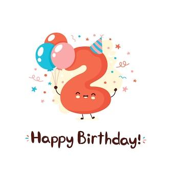 Bonitinho sorridente número dois com balões no chapéu festivo. feliz aniversário, dois anos. desenho plano