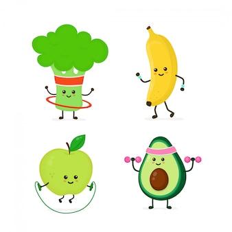 Bonitinho sorrindo comida saudável, fazendo exercício conjunto