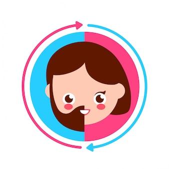 Bonitinho sorrindo feliz metade masculino e metade feminina rosto e círculo seta