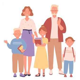 Bonitinho sorrindo felizes pais e filhos personagem conceito de ilustração vetorial plana